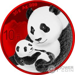 PANDA Space Red Moneta Argento 10 Yuan China 2019