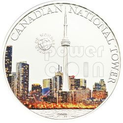 CANADIAN NATIONAL TOWER World Of Wonders 5$ Silver Coin Palau 2011