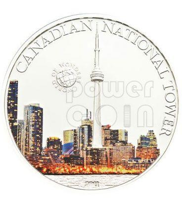 TORRE NAZIONALE CANADA CN Tower World Of Wonders Moneta Argento 5$ Palau 2011