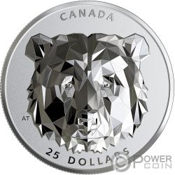 GRIZZLY BEAR Multifaced Animal Head 1 Oz Silver Coin 25$ Canada 2020