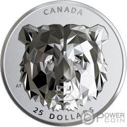GRIZZLY BEAR Oso Multifaced Animal Head 1 Oz Moneda Plata 25$ Canada 2020
