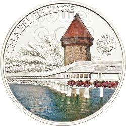 CHAPEL BRIDGE Kapellbrucke Switzerland World Of Wonders 5$ Silver Coin Palau 2011