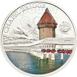 CHAPEL BRIDGE Svizzera World Of Wonders Moneta Argento 5$ Palau 2011