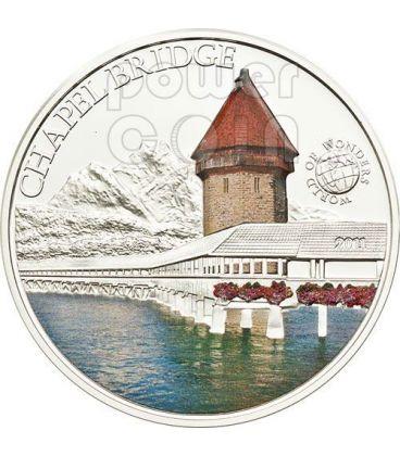 CHAPEL BRIDGE Svizzera World Of Wonders Moneta Argento 5$ Palau 2011