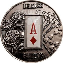 POKER DEALER BUTTON Diamonds Texas Hold'em Münze 1$ Palau 2008