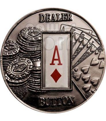 POKER DEALER BUTTON Quadri Texas Hold'em Moneta 1$ Palau 2008