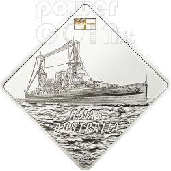 HMAS AUSTRALIA Nave Corazzata Moneta Argento 2 Oz 10$ Palau 2011