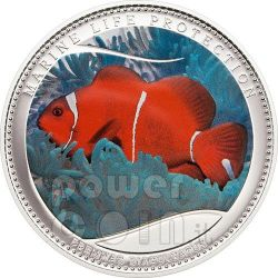 ANEMONEFISH Clownfish Marine Life Protection Silver Coin 5$ Palau 2011