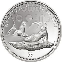 ANEMONEFISH Clownfish Marine Life Protection Silver Coin 5$ Palau 2011