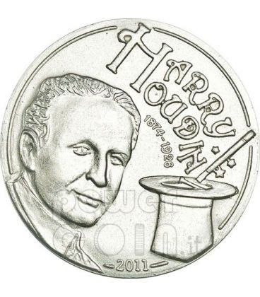 HARRY HOUDINI Magic Coin Magica Moneta Argento 2$ Palau 2011