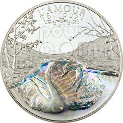 AMOUR TOUJOURS Cigni Amore Ologramma Moneta Argento 1000 Franchi Camerun 2011