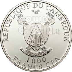 AMOUR TOUJOURS Love Swans Hologram Moneda Plata 1000 Francs Cameroon 2011