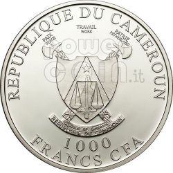 AMOUR TOUJOURS Love Swans Hologram Silber Münze 1000 Francs Cameroon 2011