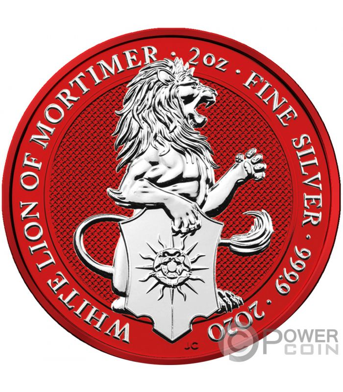 WHITE LION Space Red Queen Beasts 2 Oz Silver Coin 5£ United Kingdom 2020