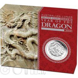 DRAGON Lunar Year Series 1 Oz Plata Proof Moneda 1$ Australia 2012