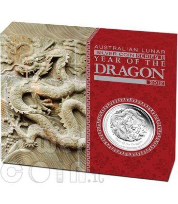 DRAGONE Dragon Lunar Serie Moneta Argento Proof 1Oz 1$ Australia 2012