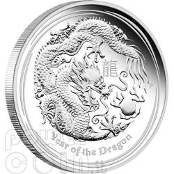 DRAGON Lunar Year Series 1 Oz Silver Proof Coin 1$ Australia 2012