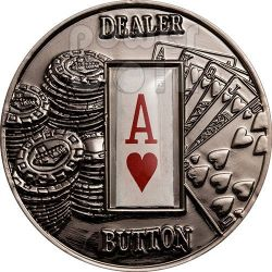 POKER DEALER BUTTON Hearts Texas Hold'em Coin 1$ Palau 2008