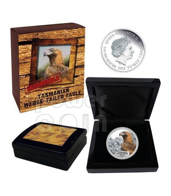 AQUILA FALCO DELLA TASMANIA Estinta Moneta Argento 1$ Tuvalu 2012