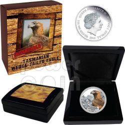 TASMANIAN WEDGE TAILED EAGLE Extinct Endangered Plata Proof Moneda 1$ Tuvalu 2012