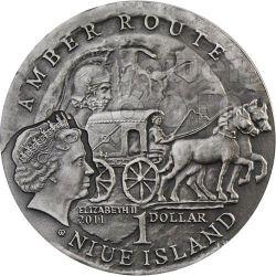 AQUILEIA Amber Route Road Moneda Plata 1$ Niue 2011