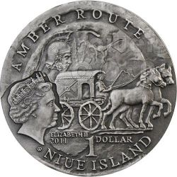AQUILEIA Amber Route Road Silver Coin 1$ Niue 2011