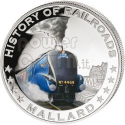 MALLARD England Railroad Railway Steam Train Locomotive Moneda Plata 5$ Liberia 2011