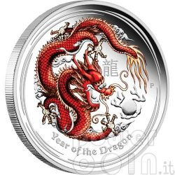 DRAGONE Dragon Lunar Serie Moneta Colorata Argento Proof 1Oz 1$ Australia 2012