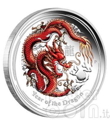 DRAGON Lunar Year Series 1 Oz Coloured Silver Proof Coin 1$ Australia 2012