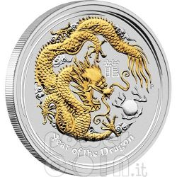 DRAGONE Dragon Lunar Serie Moneta Dorata Argento 1Oz 1$ Australia 2012
