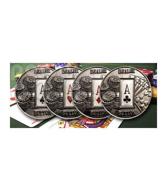 POKER DEALER BUTTON Hearts Texas Hold'em Монета 1$ Палау 2008