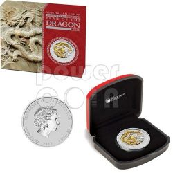 DRAGON Lunar Year Series 1 Oz Gilded Silver Coin 1$ Australia 2012