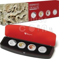DRAGON Lunar Year Series 1 Oz Typeset 4 Silver Proof Coins 1$ Australia 2012