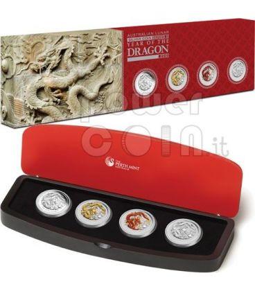 DRAGONE Dragon Anno Lunare Typeset 4 Monete Argento Proof 1Oz 1$ Australia 2012