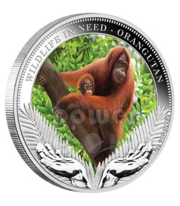 ORANGUTAN Wildlife In Need Silver Coin 1$ Tuvalu 2011