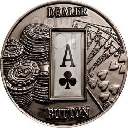 POKER DEALER BUTTON Clubs Texas Hold'em Coin 1$ Palau 2008