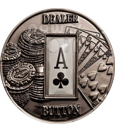 POKER DEALER BUTTON Fiori Texas Hold'em Moneta 1$ Palau 2008