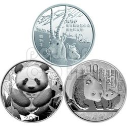 WWF 50 Anni World Wildlife Fund Set 3 Monete Argento Medaglia 10 Yuan Cina 2011