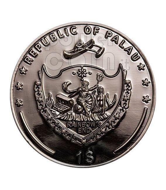 POKER DEALER BUTTON Clubs Texas Hold'em Coin 1$ Palau 2008