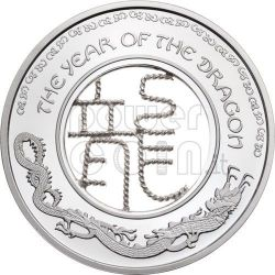 DRAGON FILIGREE Lunar Year Moneda Plata 1$ Fiji 2012