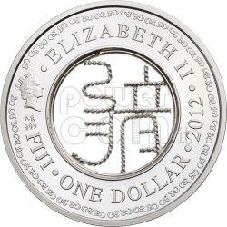 DRAGON FILIGREE Lunar Year Moneda Plata 1$ Fiji 2012