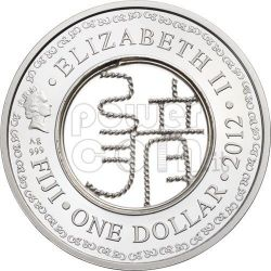 DRAGONE FILIGRANA Anno Lunare Zodiaco Cinese Moneta Argento 1$ Fiji 2012