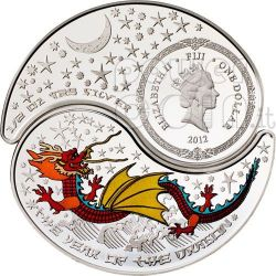 DRAGONE YIN YANG Anno Lunare Cinese Monete Argento 1$ Fiji 2012