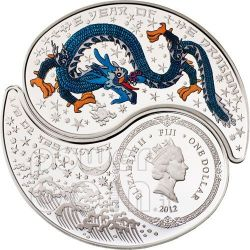 DRAGON YIN YANG Chinese Lunar Year Silver Coin Set 1$ Fiji 2012