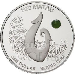HEI MATAU Maori Art Pounamu Pietra Verde Moneta Argento 1$ Nuova Zelanda 2012
