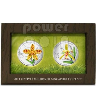 ORCHIDS Native 2 Silver Proof Coin Set 5$ Singapore 2011