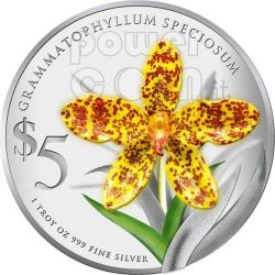 ORCHIDEE Native Set 2 Monete Argento Proof 5$ Singapore 2011