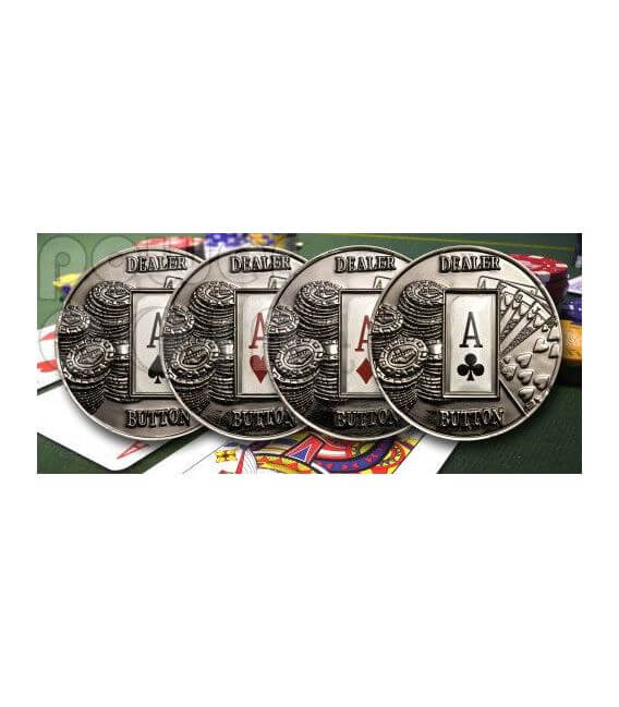 POKER DEALER BUTTON Clubs Texas Hold'em Moneda 1$ Palau 2008