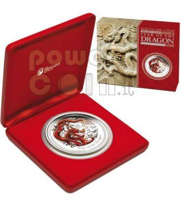 DRAGON Lunar Year Series 1 Kg Kilo Coloured Silver Proof Coin 30$ Australia 2012