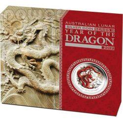 DRAGON Lunar Year Series 1 Kg Kilo Coloured Silber Proof Münze 30$ Australia 2012